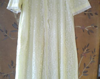 60s lemon and white lace night gown / house coat