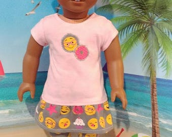 18 inch doll outfit - Emoji outfit, top and leggings - Fits American Girl Dolls