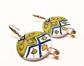 Ceramic earrings, gift jewelry, special occasion, geometrical earrings, vietri earrings, handmade