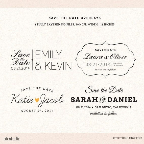 Popular Photoshop Save the Date overlays wedding photo cards psd HY57