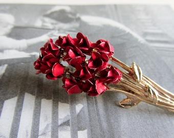 Vintage DM©97 Dozen Red Roses Brooch