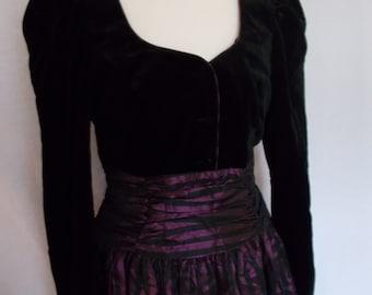 Vintage dress 80s Laura Ashley black velvet taffeta dress size small medium