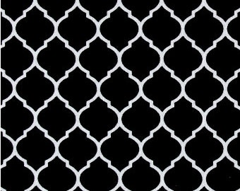 Black and White Quarterfoil Fabric, Fabric By The Yard, Fabric BTY,  Moroccan Fabric, Craft Fabric, Quilting Fabric, Flannel Fabric,