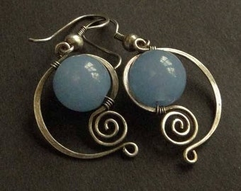 Silver 925/1000 silver spiral dangle earrings with amazonite 12 mm