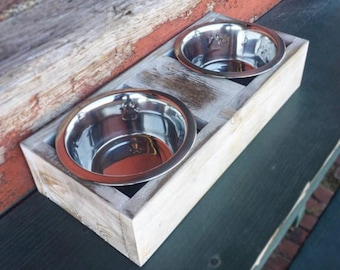 Elevated Pet Feeder - Dog Feeder - Cat Feeder - Feeder Stand - Shabby Chic - Pet Bowls - Free Shipping