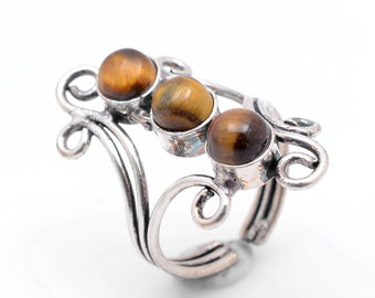 Tiger Eye 925 Silver Ring Adjustable