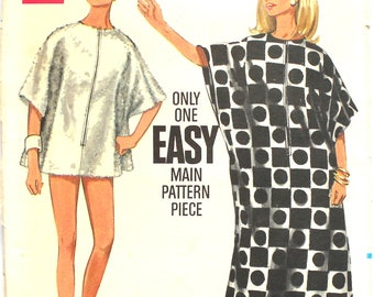 Bathing Suit Cover Up in 2 Lengths Butterick 4889 One Size Vintage Sewing Pattern 1960s