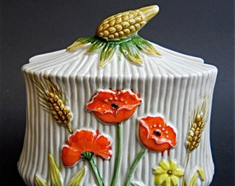 Vintage Lefton China Poppy Wheat Sheaf Napkin Holder 1457 WT Kitchen Housewares