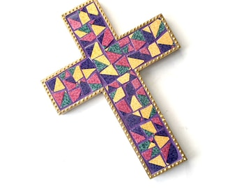 Mosaic Cross, Purple Gold Mosaic Wall Cross, Purple Gold Ceramic and Wood Mosaic Cross, Mosaic Cross Wall Hanging, Handmade Wall Cross Decor