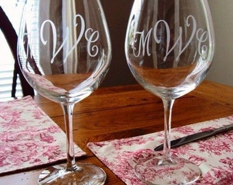 Personalized Sand-Carved Etched Wine Glasses for couples, wedding parties, and everyone toasting by JackGlass on Etsy