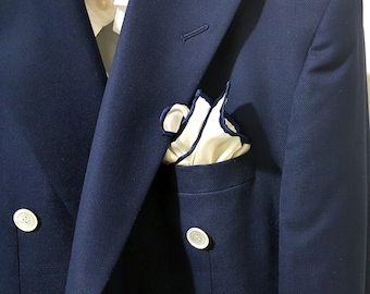 SILK Pocket Square in White with Navy Blue Hand rolled Edging