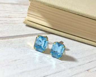 Light Blue Rhinestone Stud Earrings, Rhinestone Wedding Earrings, Light Blue Rhinestone Studs, Vintage Style Earrings, KreatedByKelly