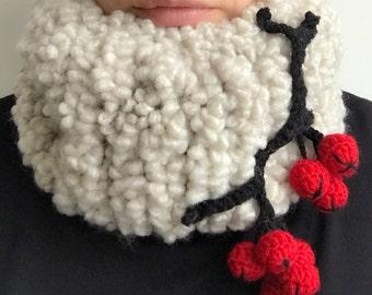 Chunky infinity scarf, super chunky knit scarf, super bulky scarf, fluffy scarf, berries scarf, berry scarf, bulky scarf, chunky neckwarmer