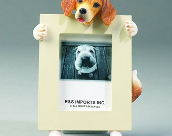 Beagle Picture Frame makes a Perfect gift for Beagle Lovers- Hand Painted Holds a 2 1/2 x 3 1/5 Picture