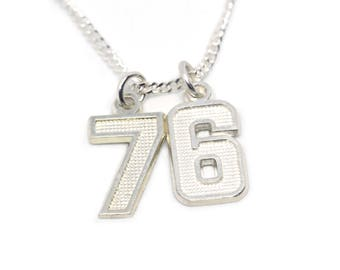 Number necklace, Silver numbers, Number jewelry, Jersey Number Necklace, Personalized jewelry, Custom jewelry