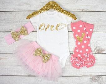 First Birthday Outfit, Baby Girl 1st Birthday Oufit, 1st Birthday Girl, Cake Smash Outfit, 1st Birthday Girl, One (S9) (1BD) (LIGHTPK)