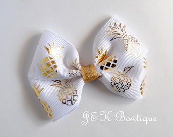 Pineapple hair bow, gold pineapple hair bow, large hair clip, toddler bows, big bows, summer hair clip, pineapple birthday hair bow