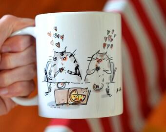 Pizza Cat Mug - Funny Cat Mug - Cat Gift