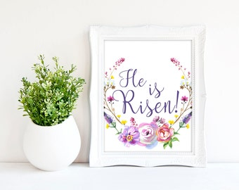 Religious easter etsy he is risen print easter wall art religious easter decor christian printable negle Image collections