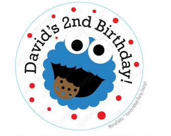 Cookie Monster stickers Party Personalized Cookie Monster Inspired PRINTED round Stickers, tags, Labels or Envelope Seals  A1044