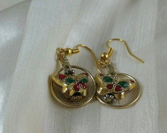 Brass, gold tone puffy butterfly earrings