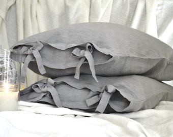 Light grey stonewashed linen pillowcase with ties. Luxurious pure linen bedding