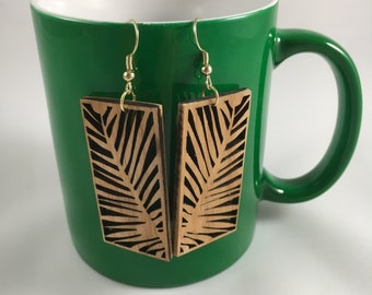Laser Cut Wooden Ear rings (palm leaf)