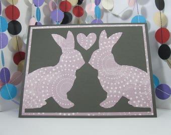 Bunny Love Card - Easter rabbit - dark gray purple - anniversary - wedding - any occasion - bunny lover - donation card