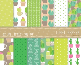 Cactus Digital Paper Set - Instant Download - Personal and Commercial Use