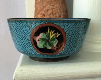 Antique Chinese Multi-tone Turquoise Cloisonne Bowl