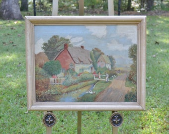 Vintage Oil Painting Landscape Cottage Scene Original Signed H Convery Framed Ready to Hang Panchosporch