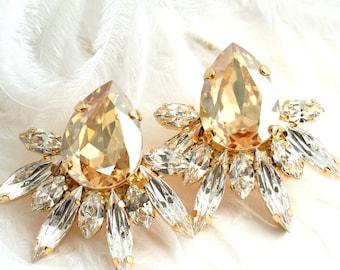 Bridal Earrings, Champagne Bridal Earrings, Swarovski Earrings, Bridal Cluster Earrings, Bridesmaids Earrings, Bridal Bohemian Earrings