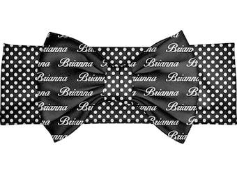 Personalized Headband - custom baby gift - bow head band - Toddler Headband - Personalized Bow Headband – black polka dots Bow