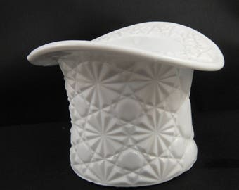 Milk Glass Button and Bow Pattern Top Hat Small Planter or Dish