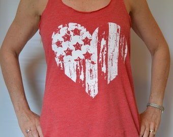 American Flag Heart Tank Top - Fourth of July.  Womens Racerback, Exercise Gym Tank, Yoga Tank top