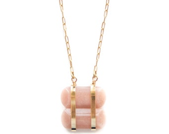Peach Moonstone Ladder Necklace