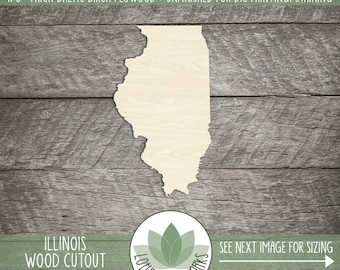 Illinois, Unfinished Wood Illinois Laser Cut Shape, DIY Craft Supply, Many Size Options, Blank Wood Shapes