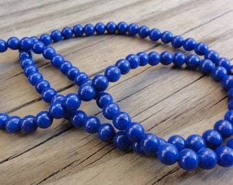 Lapis Blue Mountain Jade 4mm Beads Round Smooth - 16 inch Full Strand
