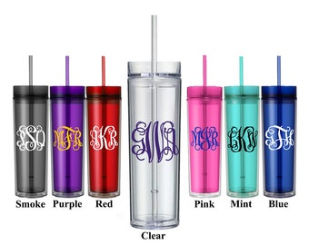 Vine Monogram Tumbler, Custom Acrylic Skinny Water Bottle With Straw, Bridesmaid Gifts, Bridal Party Favors, Wedding Gift, Plastic Cups