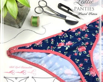 PRINTED Lingerie Sewing Pattern - Lottie Ring Side Detail Bikini Fit Panties -  EVIE la LUVE