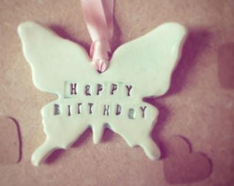Birthday Butterfly Ceramic Hanging Tag