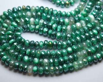 8 Inch Long Strand,Mystic Green Moonstone Faceted Rondelles Size, 7-8mm