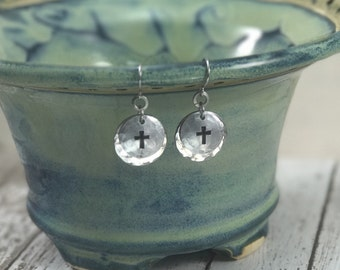 Cross Hand-Stamped Earrings, Faith, Inspirational, Christian, Religious, Aluminum and Stainless Steel Hardware