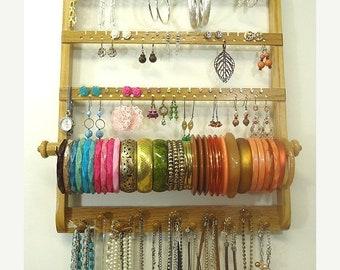 ON SALE Earring Holder Bracelet Bangle, Elegant Necklace Organize, Jewelry Display, Gorgeous Oak Wood, Wall Mount, Honey Stained Hardwood, B
