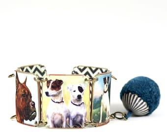 Schrumpfen Sie Kunststoff-Hund Armband Boxer Hund Armband Jack Russell Hund Armband Terrier Hund Armband Vintage Hund Armband Mastiff Hund Armband