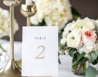 Printable Table Number Cards - Modern Minimalist Wedding Table Numbers Printable - Wedding Reception - Number 1 to 20 - (Item code: P326)