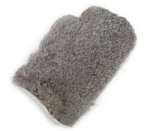 Rabbit Fur Massage Mitts (Pair) : Chinchilla pattern (696-9CH) Q3 8Xf9NcO3