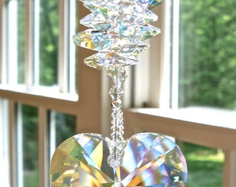 "Swarovski Crystal Heart Sun Catcher, Window Ornament, Aurora Borealis Prism and Octagons - Glistens in Low Light - ""LYRIC AB"""