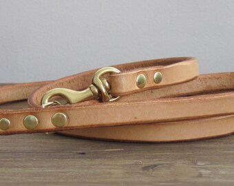 Leather Dog Leash - Leash for Small Dogs Leash for Toy Dogs Cat Leash Leather Dog Lead Custom Dog Leash - Brass