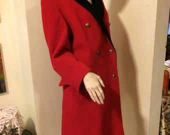 Vintage 80s BOLD Christmas Red Black Velvet Trim Ladies London Fog Ultimate Classic Wool Ladies Coat size  Medium Large